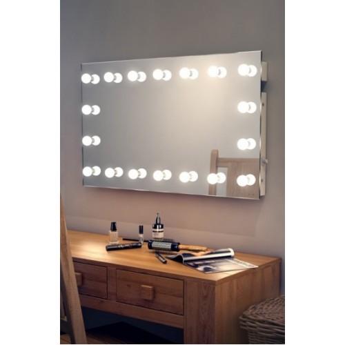 Настенное гримерное зеркало без рамы 80х180 с подсветкой LED лампами по контуру